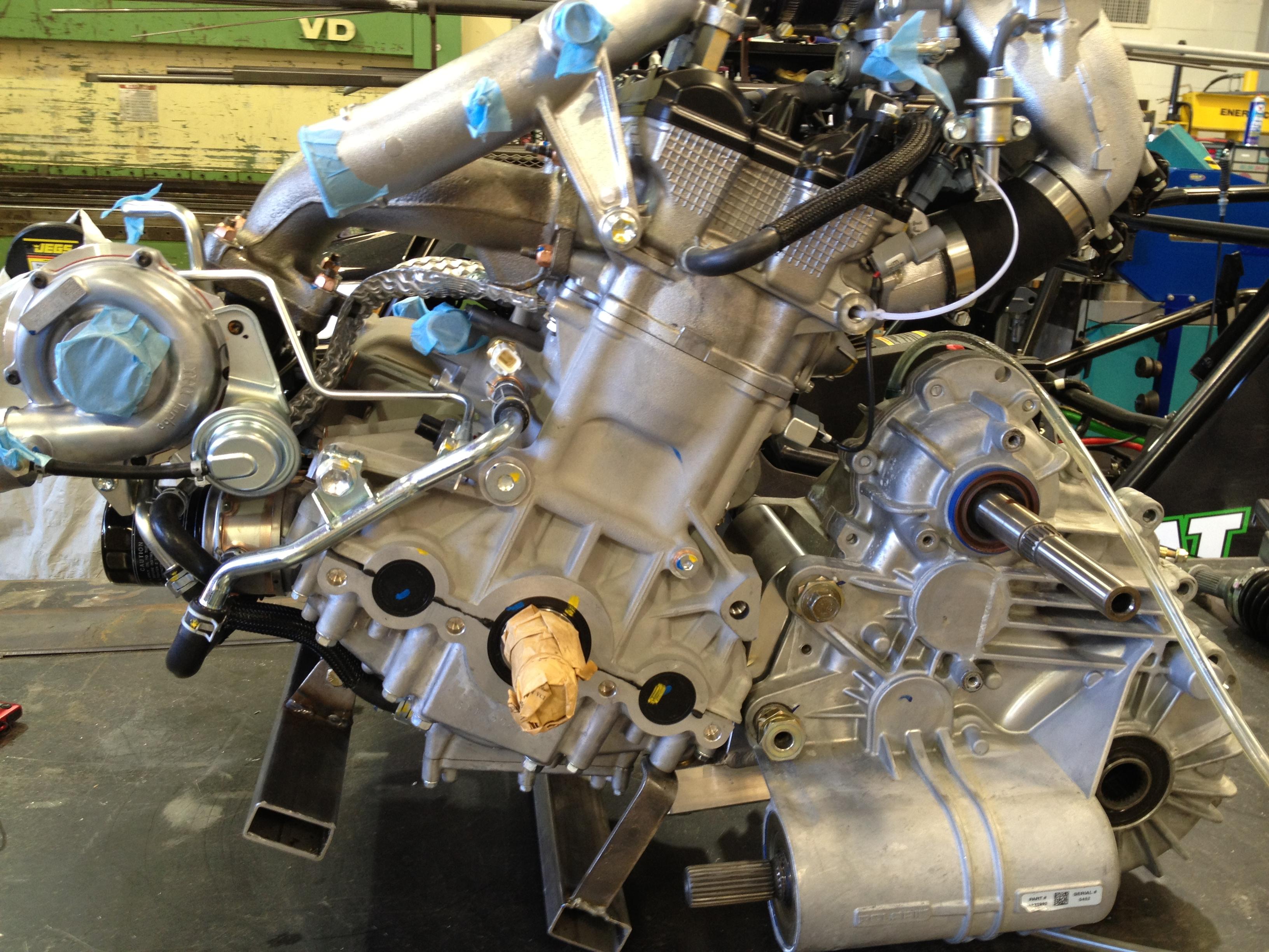 Snowmobile engine swap into fullsize cat