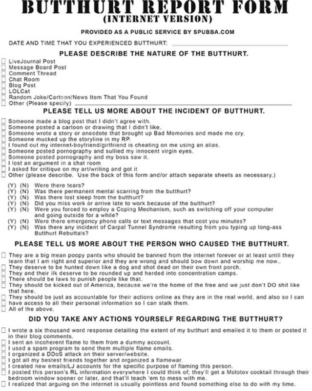 picture regarding Butthurt Report Form Printable named Butthurt write-up type humorous as