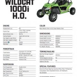 2012 Arctic Cat Wildcat Spec Sheet