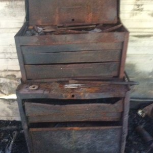 Burned Tool Box Located Near Back Right Hand Corner