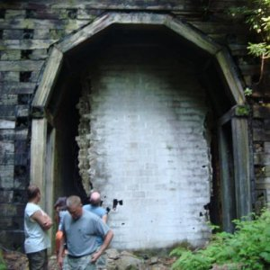 abandoned wooden railroad tunnel WV.  Spooky as HELL!!!!
